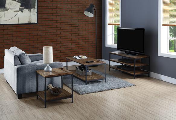 Jual Rustic TV Stand Oak with Metal Frame image 3