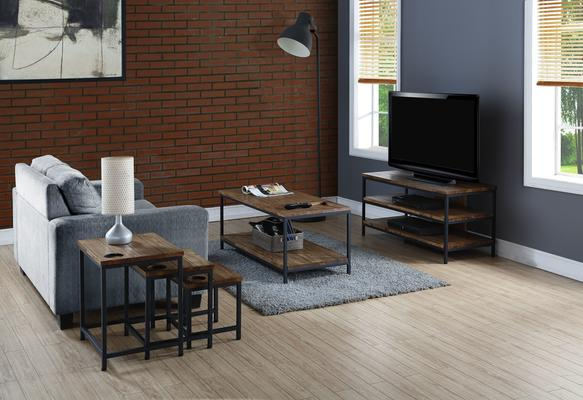 Jual Rustic TV Stand Oak with Metal Frame image 4