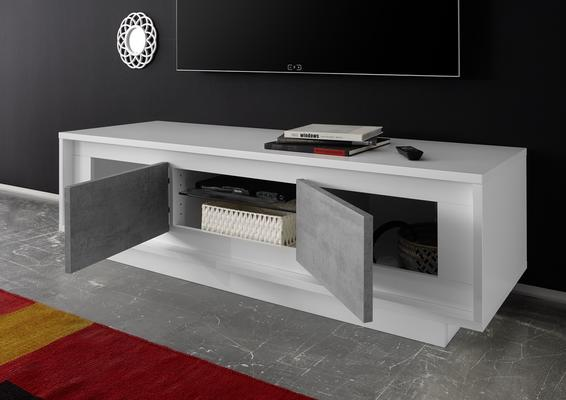 Luna Two Door TV Stand - Matt White/Grey image 2