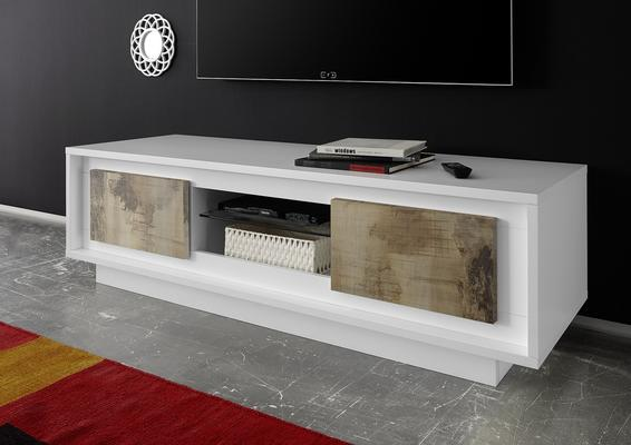 Luna Two Door TV Stand - Matt White/Natural