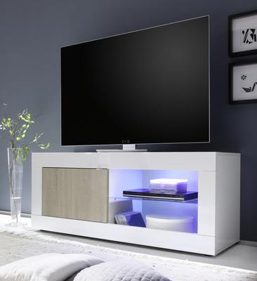 Urbino Collection Small TV Unit INCLUDING LED Spot Light - Gloss White and Light Oak Finish