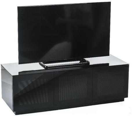 High Gloss Black TV cabinet 140 cm with remote friendly doors