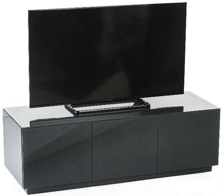 High Gloss Grey TV cabinet 140 cm with remote friendly doors