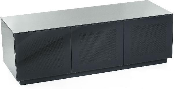 High Gloss Grey TV cabinet 140 cm with remote friendly doors image 3