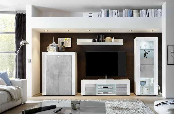 Napoli  Small TV Unit - Gloss White/Grey finish image 2