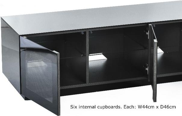 Modern extra wide 2.8m TV cabinet in high gloss black image 2