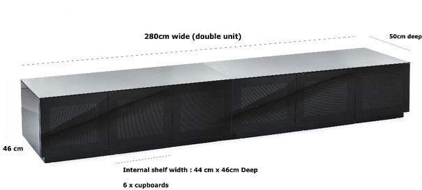 Modern extra wide 2.8m TV cabinet in high gloss black image 3