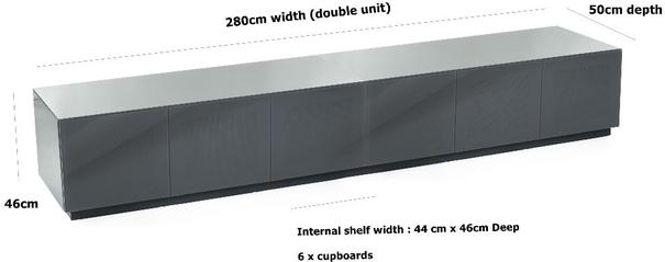 Contemporary extra wide 2.8m Gloss grey tv cabinet image 2