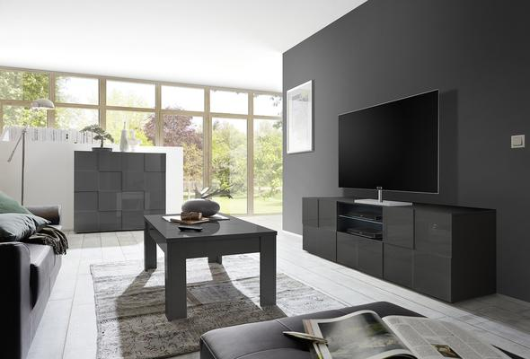 Treviso Large TV Unit - Gloss Grey  image 2