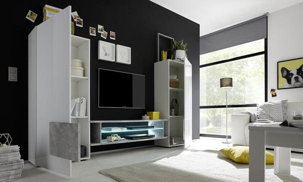Sorriso High TV Unit - White Gloss with Grey/Black/Natural Lacquer image 2