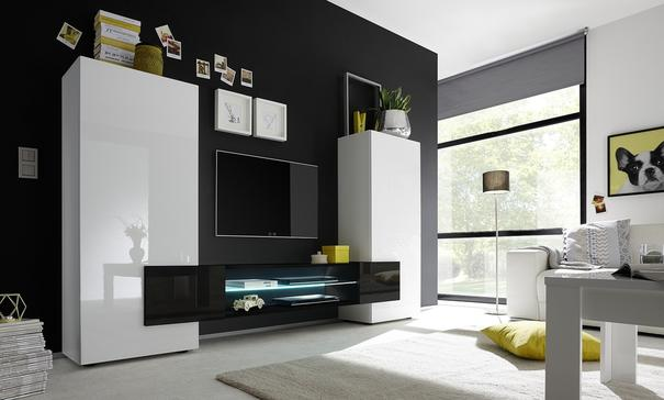 Sorriso High TV Unit - White Gloss with Grey/Black/Natural Lacquer image 3