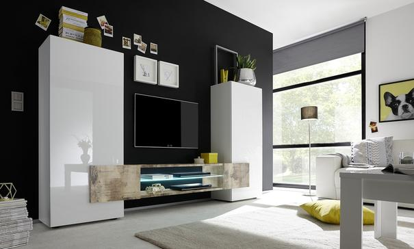 Sorriso High TV Unit - White Gloss with Grey/Black/Natural Lacquer image 4
