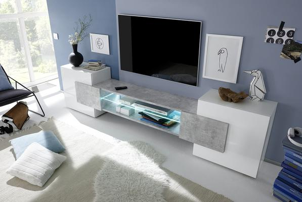 Sorriso Low TV Unit - White Gloss with Grey/Black/Natural Lacquer