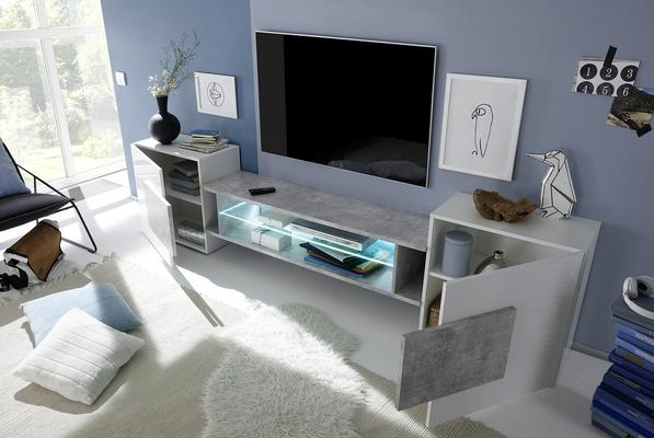 Sorriso Low TV Unit - White Gloss with Grey/Black/Natural Lacquer image 2