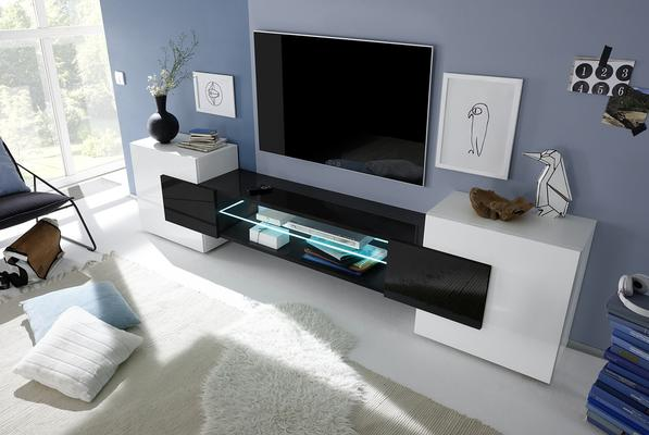 Sorriso Low TV Unit - White Gloss with Grey/Black/Natural Lacquer image 3