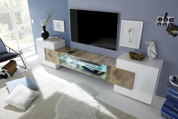 Sorriso Low TV Unit - White Gloss with Grey/Black/Natural Lacquer image 4