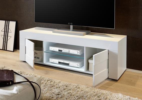 Napoli Large TV Stand Gloss White image 2