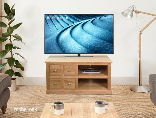 Mobel Oak Four Drawer TV and DVD Cabinet