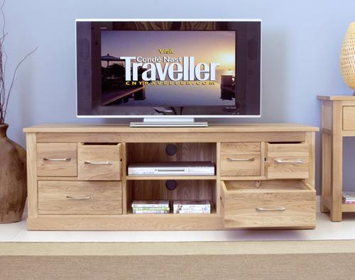 Mobel Oak Widescreen TV Cabinet 6 Drawers Modern Design image 5