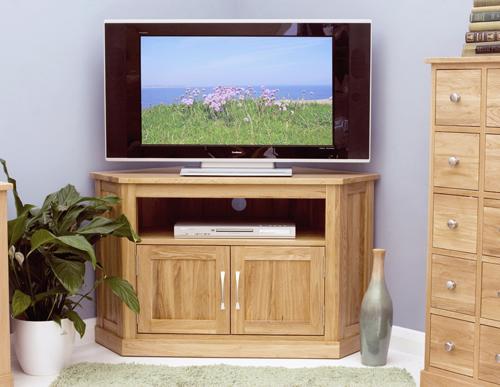 Mobel Solid Oak Corner Television Cabinet Modern image 3