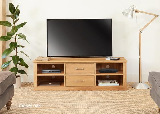 Mobel Solid Oak Mounted Widescreen TV Cabinet Modern Design image 2