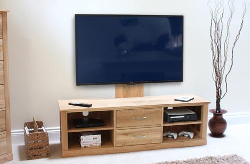 Mobel Solid Oak Mounted Widescreen TV Cabinet Modern Design image 3