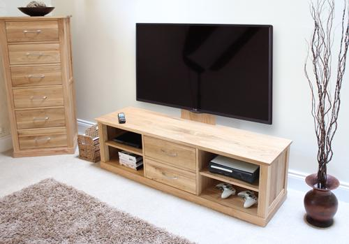 Mobel Solid Oak Mounted Widescreen TV Cabinet Modern Design image 5