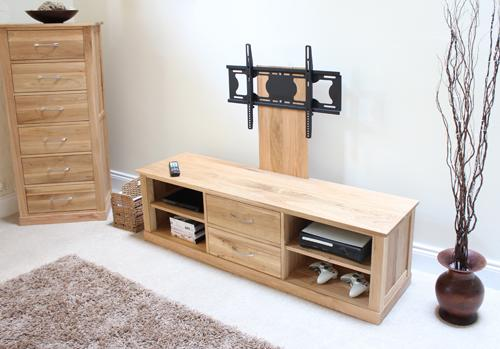 Mobel Solid Oak Mounted Widescreen TV Cabinet Modern Design image 6