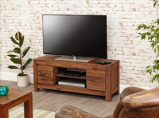 Mayan Walnut Low TV Cabinet Rustic Style