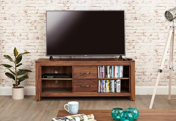 Mayan Walnut Rustic TV Cabinet 2 Drawer