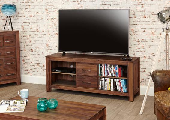 Mayan Walnut Rustic TV Cabinet 2 Drawer image 2