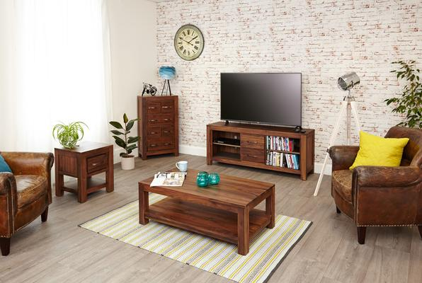 Mayan Walnut Rustic TV Cabinet 2 Drawer image 4