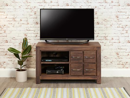 Mayan Walnut Rustic TV Cabinet 4 Drawers