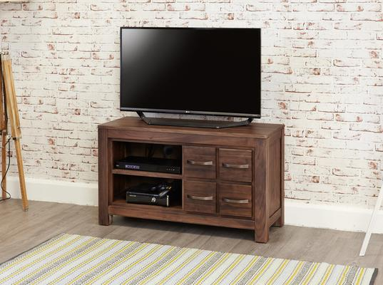 Mayan Walnut Rustic TV Cabinet 4 Drawers image 2