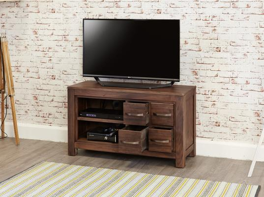 Mayan Walnut Rustic TV Cabinet 4 Drawers image 3