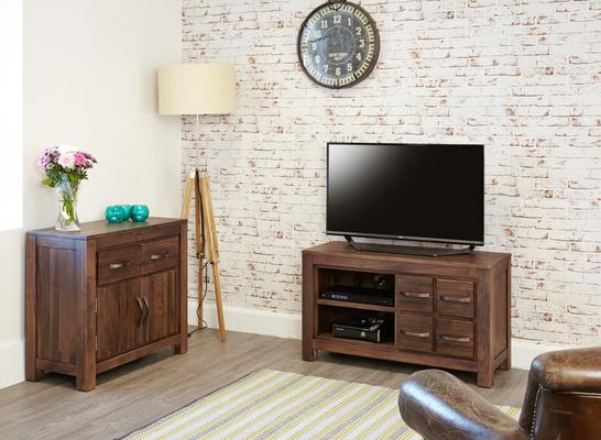 Mayan Walnut Rustic TV Cabinet 4 Drawers image 4