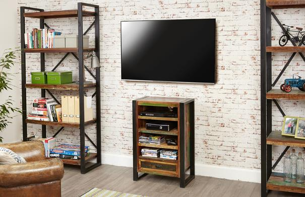 Urban Chic Entertainment Cabinet Reclaimed Wood and Steel image 5