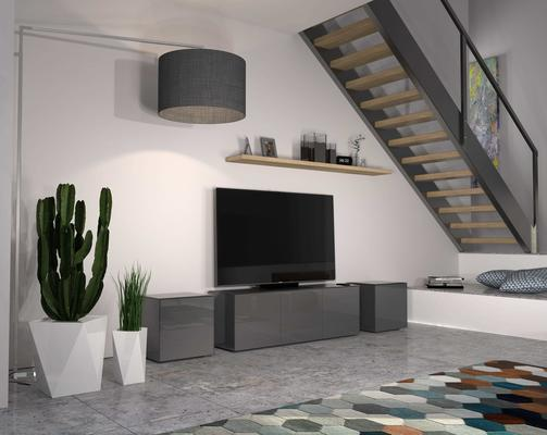 Intelligent TV Cabinet and 2 Lamp Table Set High Gloss Grey