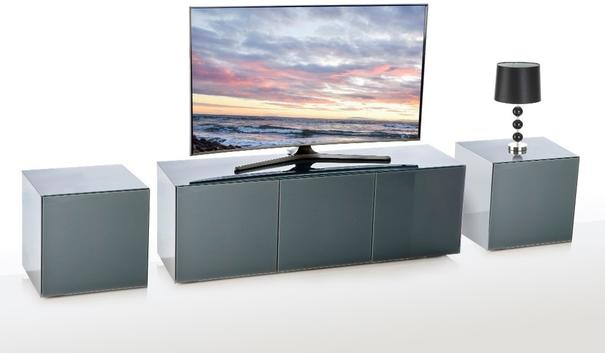 Intelligent TV Cabinet and 2 Lamp Table Set High Gloss Grey image 7