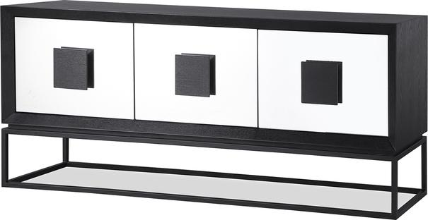 ETNA Art Deco Media Sideboard Dark Wood and Steel