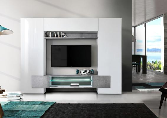 Sorriso Wall Unit White Gloss with Grey/Black/Natural and LED Lights