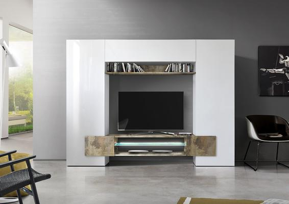 Sorriso Wall Unit White Gloss with Grey/Black/Natural and LED Lights image 3