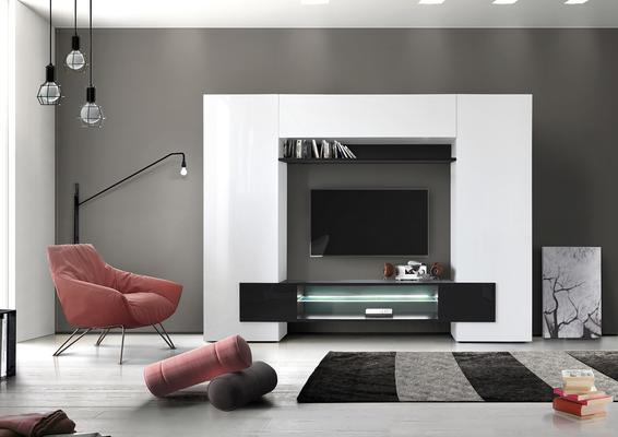 Sorriso Wall Unit White Gloss with Grey/Black/Natural and LED Lights image 5