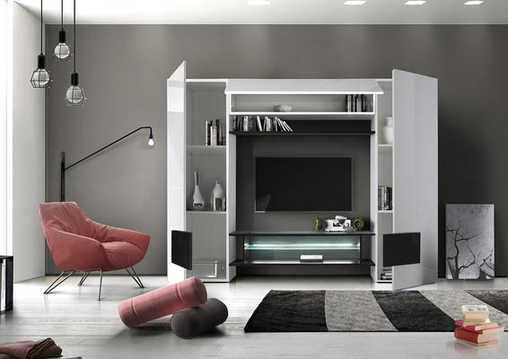 Sorriso Wall Unit White Gloss with Grey/Black/Natural and LED Lights image 6