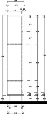 Luna Storage and TV Wall Unit - Matt White and Cognac Finish image 4
