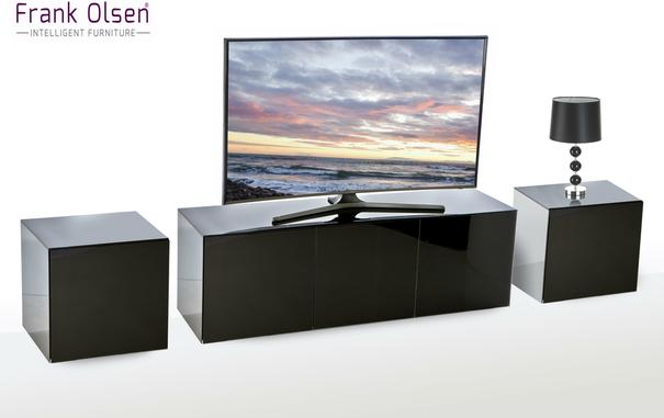 Intelligent TV Cabinet and 2 Lamp Table Set High Glass Black