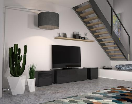 Intelligent TV Cabinet and 2 Lamp Table Set High Glass Black image 4