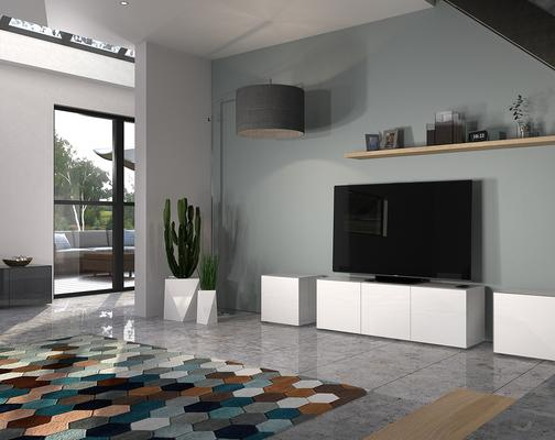 Intelligent TV Cabinet and 2 Lamp Table Set High Gloss White image 5