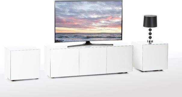 Intelligent TV Cabinet and 2 Lamp Table Set High Gloss White