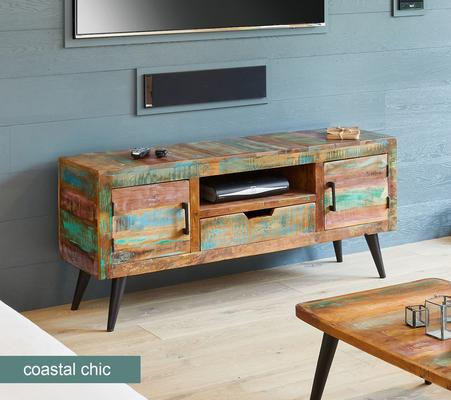 Coastal Chic TV Cabinet Reclaimed Timber